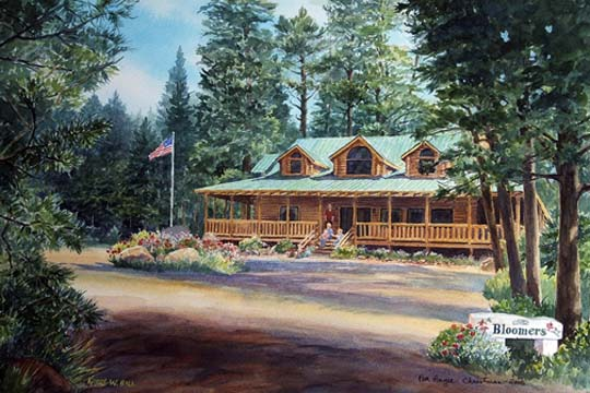 Bloomer's Cabin in Cuchara - watercolor version of original oil painting