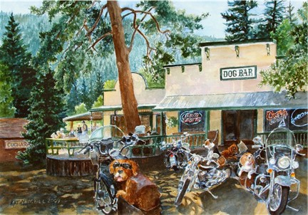 Dog Bar Bikers - Original watercolor