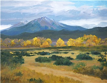 Spanish Peaks From Apishapa Creek - A