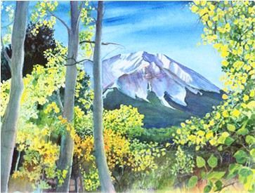 West Peak Through the Aspens Print