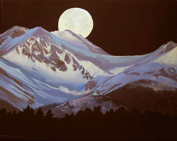 Snow Moon - Oil on Black Canvas