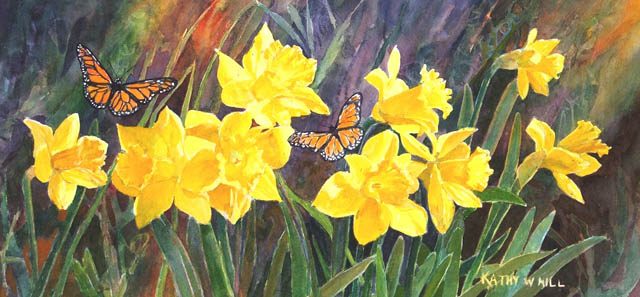 Daffodils and Butterflies - Print
