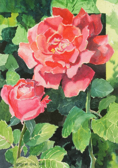 Pink Rose with One on the Way - print
