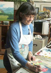 Kathy Hill in her studio