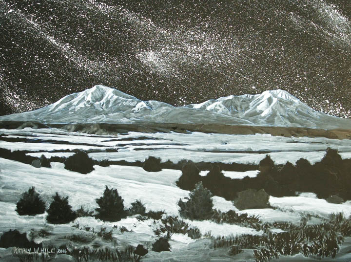 Moonlight, Snow, Stars and Spanish Peaks