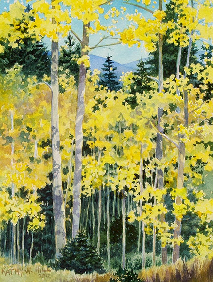 Evergreens and Golden Aspens - Print