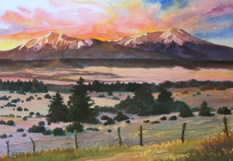 Vibrant Colorado Sunrise - Watercolor