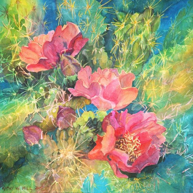 Three Cholla Cactus Flowers - print