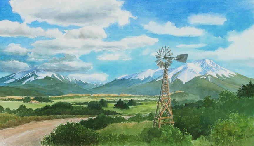 Windmill with Spanish Peaks