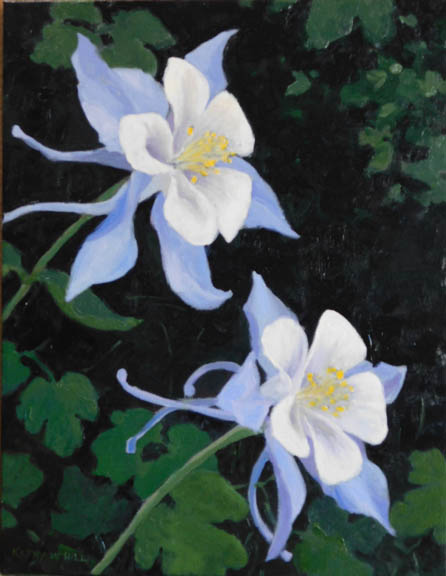 Twin Columbines-Oil