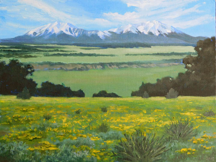 Spanish Peaks with Yellow Wildflowers