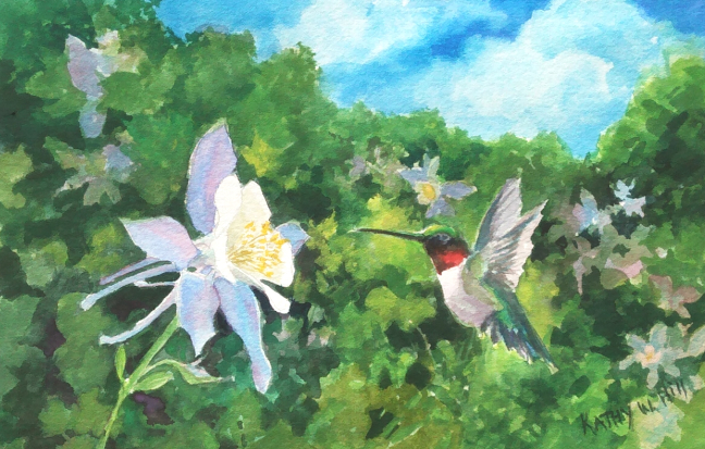 Columbine and Hummingbird